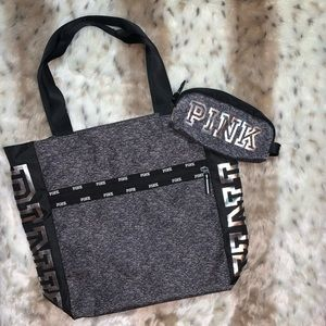 PINK | Clay Grey Marl & Black Zip Tote Bag